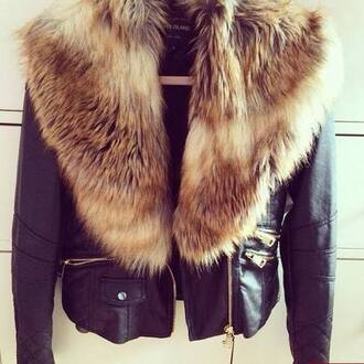 jacket fury faux fur leather jacket classy warm pockets black