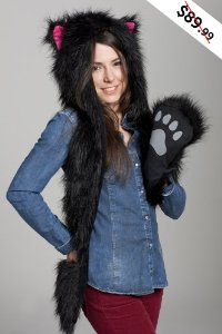 Amazon.com: fur animal hats hoods cat kitty pink with mittens unisex gloves scarf with paws: toys & games