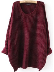 sweater,burgundy,red,crimson,Batwing Sleeve Loose-Fitting Cardigan
