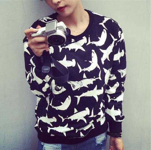 Aliexpress.com : buy fashion 2014 womens mens pullover sweatshirt harajuku systemic shark printed gd sportswear brand long sleeve black sweatshirt from reliable sweater vest plus size suppliers on rita's fashion shop