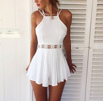 dress white vestido blanco summer midriff blonde hair style