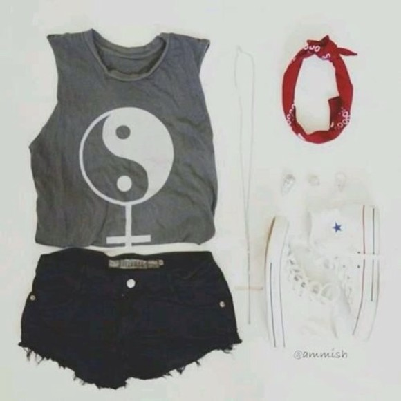 ying yang hat tank top black grunge ying yang, cute, tank, top, grey white soft grunge