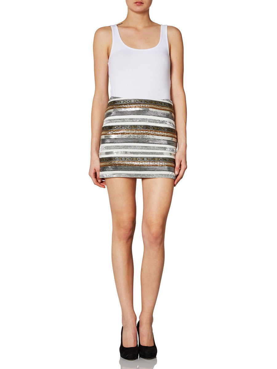 Vero Moda Moulin Metallic Stripe Mini Skirt Snow White XS s M L XL | eBay