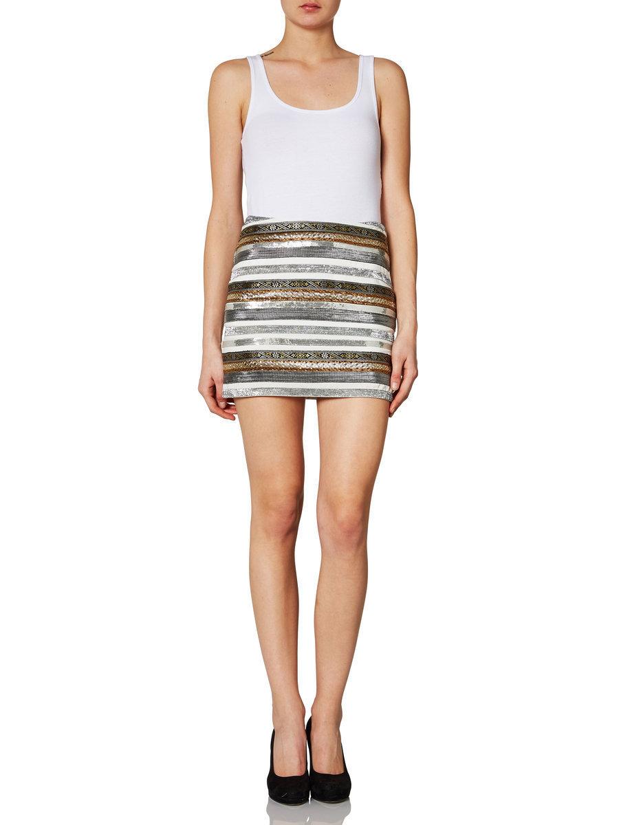 Vero Moda Moulin Metallic Stripe Mini Skirt Snow White XS s M L XL | eBay
