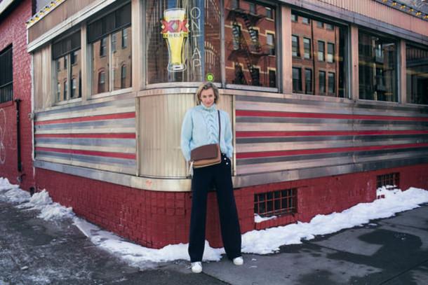 zanita blogger light blue cable knit wide-leg pants crossbody bag winter sweater