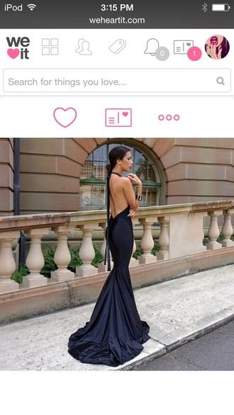 dress black black dress draped dress long prom dress halter dress