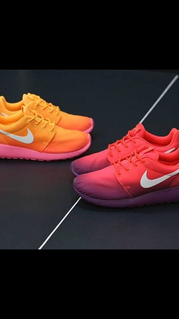 shoes orange roshe runs nikes neon