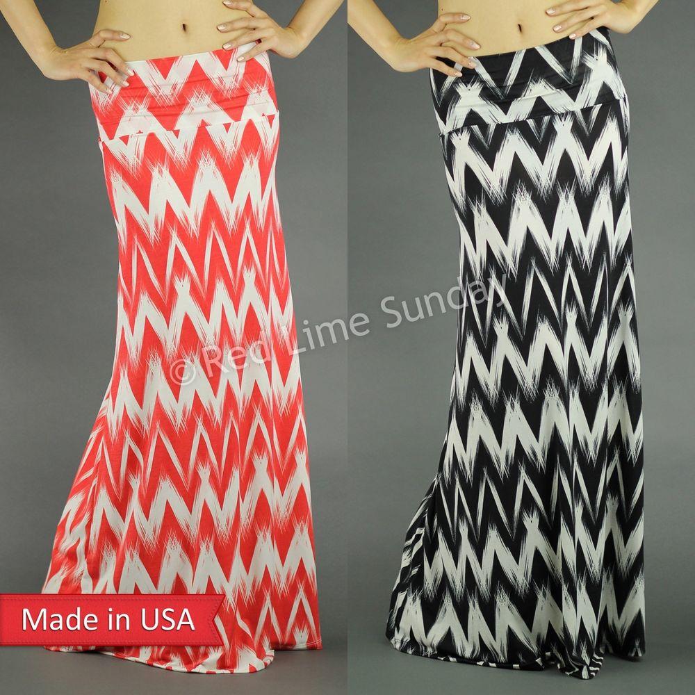 Black White Coral Wild Chevron Zigzag Stripe Print Fold Over Long Maxi Skirt USA