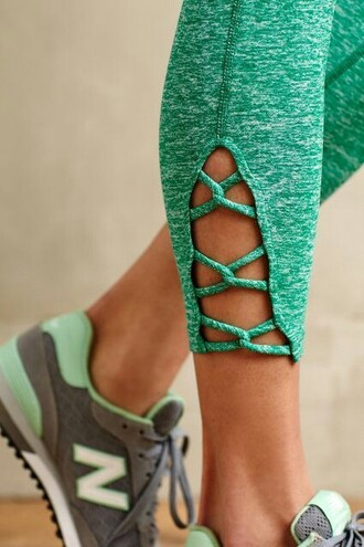 leggings braided leg cute yoga pants running leggings green looped tight tights lovely work out clothing