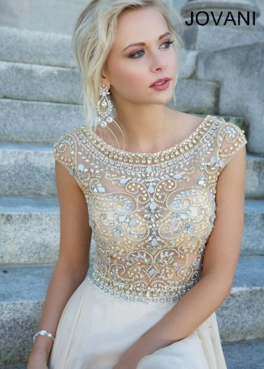 2014 Nude Scoop Neck Rhinestone Beaded Long Prom Dress [Jovani 88174 Nude Dress] - $296.00 : Hot Sale Prom Dresses & Homecoming Dresses For Cheap