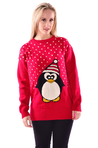 Womens Penguin Print Long Sleeve Knitted Jumper In Red