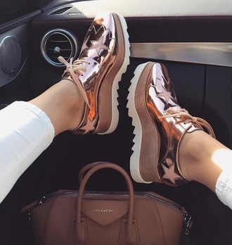 shoes rose gold high stars