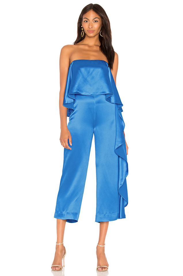 Mestiza New York Jacqueline Cropped Ruffle Jumpsuit in blue