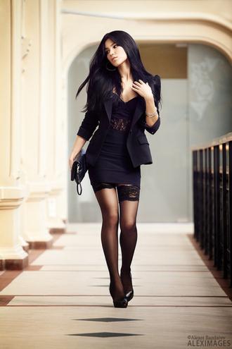dress black glamour lace short party dresses lace details