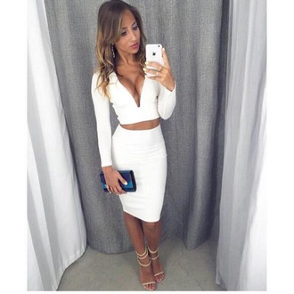 top two-piece white dress white crop tops white skirt white dress long sleeves pretty skirt midi skirt knee length dress two piece dress set shirt v neck crop tops crop