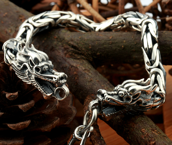 Retro Tibetan Handmade 925 Sterling Silver Double Dragon Head Bracelet - Wishbop.com