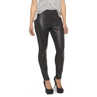 Women's Faux Leather Front Ponte Pant Black