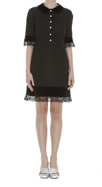 gucci dress lace wool black
