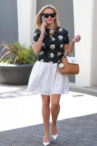 skirt top purse reese witherspoon summer outfits blouse bag