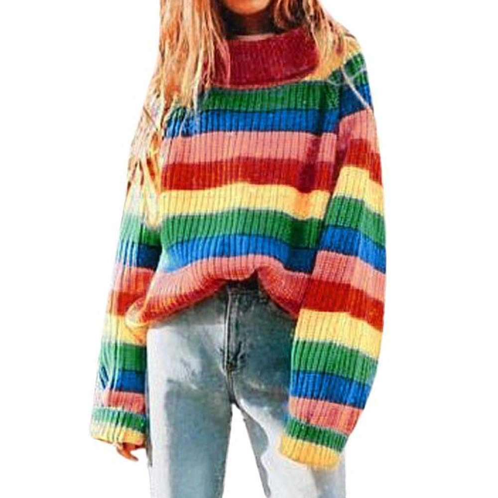 Women Rainbow Stripe Long Sleeve Turtleneck Knitted Sweater Blouse Pullover Premium Quality Sweatshirt (Multicolor, Free) at Amazon Women's Clothing store: