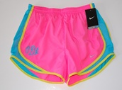 pink,nike shorts,running,athletic,excercise shorts,neon,monogram,shorts