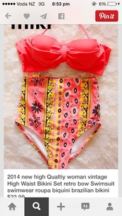 swimwear,high wasted floral