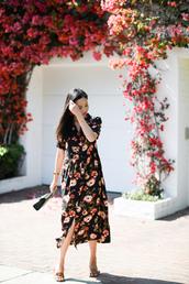 dress,midi dress,floral dress,earrings,mules,handbag