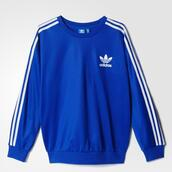 sweater,sweatshirt,adidas,adidas originals,blue,white,blue shirt,shirt,pretty