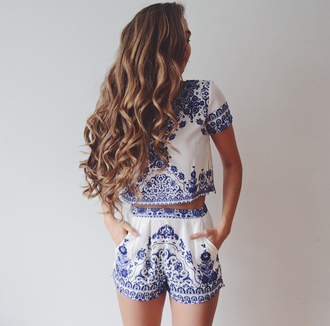 romper haute rogue printed crop tops two-piece oriental print blue and white high waisted white two piece
