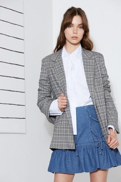 The fifth blazer check blazer grey jacket