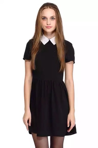 dress pastel goth friday dress little black dress white collar collared dress