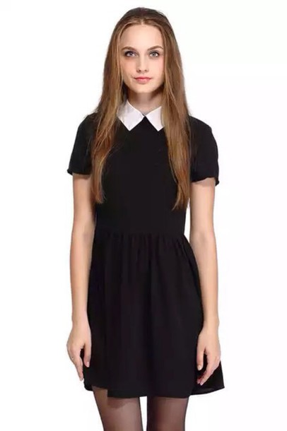 dress pastel goth friday dress black dress white collar collared dress black american horror story