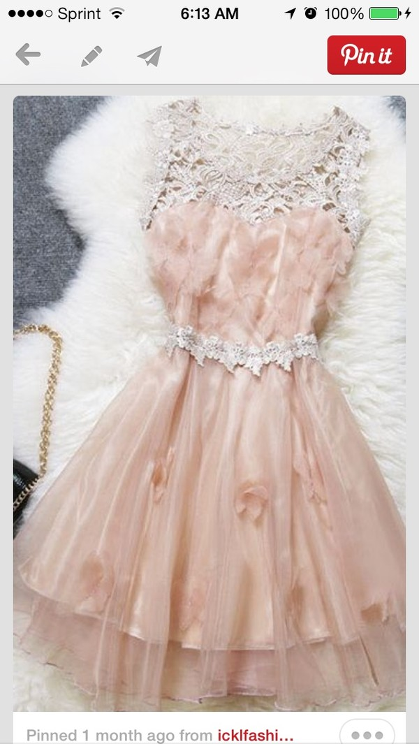 dress prom light pink short