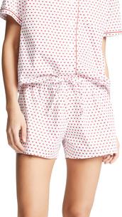 shorts,pajama shorts,white,red