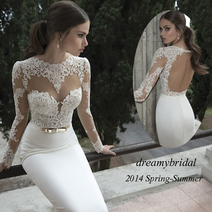 Aliexpress.com : Buy Vestidos De Noiva 2014 New Arrival Sexy Long Sleeves Sheer Lace Mermaid Wedding Dresses Satin Bride dress Weddings & Events Gown from Reliable dress shirt collar type suppliers on Suzhou dreamybridal Co.,LTD