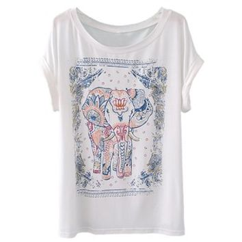 Zeagoo Womens Summer Elephant Print Round Collar Short Sleeve T-Shirt on Wanelo