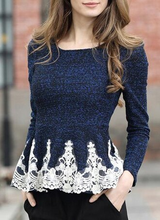 top sweater fashion style fall outfits cute girly navy lace blue winter outfits white romantic adorable outfit clothes long sleeves casual peplum trendy stylish