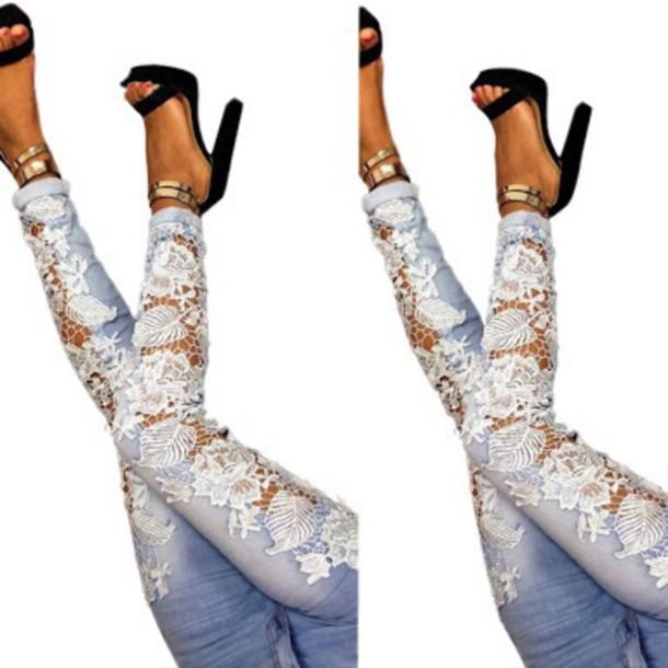 Jeans: crochet jeans, blue denim jeans - Wheretoget