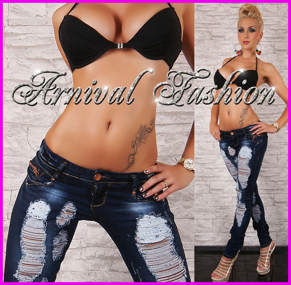 NEW SEXY RIPPED JEANS FOR LADIES DARK DENIM 6 8 10 12 14