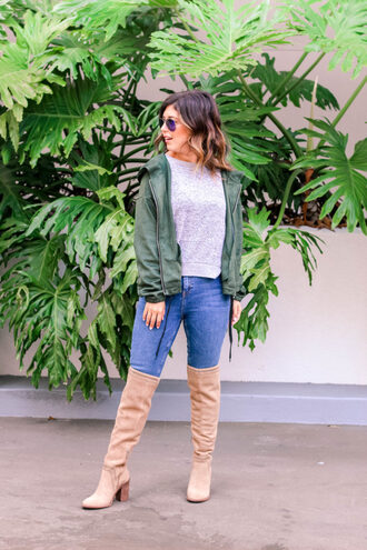 bybrittanilauren blogger jacket jeans sweater shoes top sunglasses fall outfits green jacket boots over the knee boots