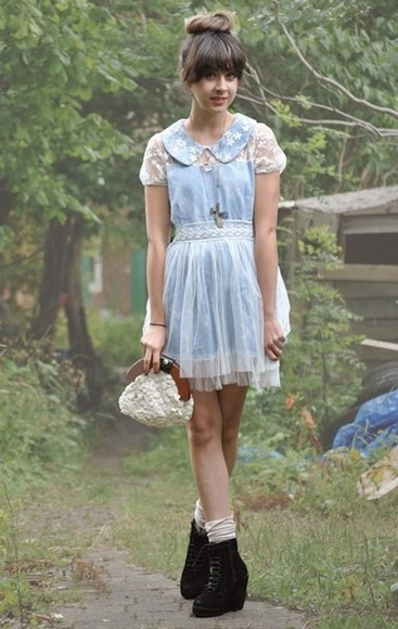 autilia collar blue dress