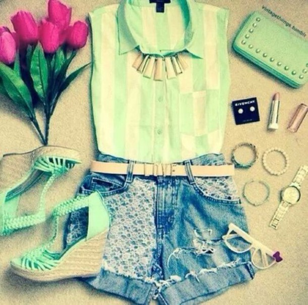 blouse shorts bag shoes jewels belt