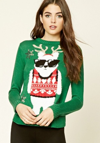 sweater green sweater christmas sweater ugly christmas sweater bear deer