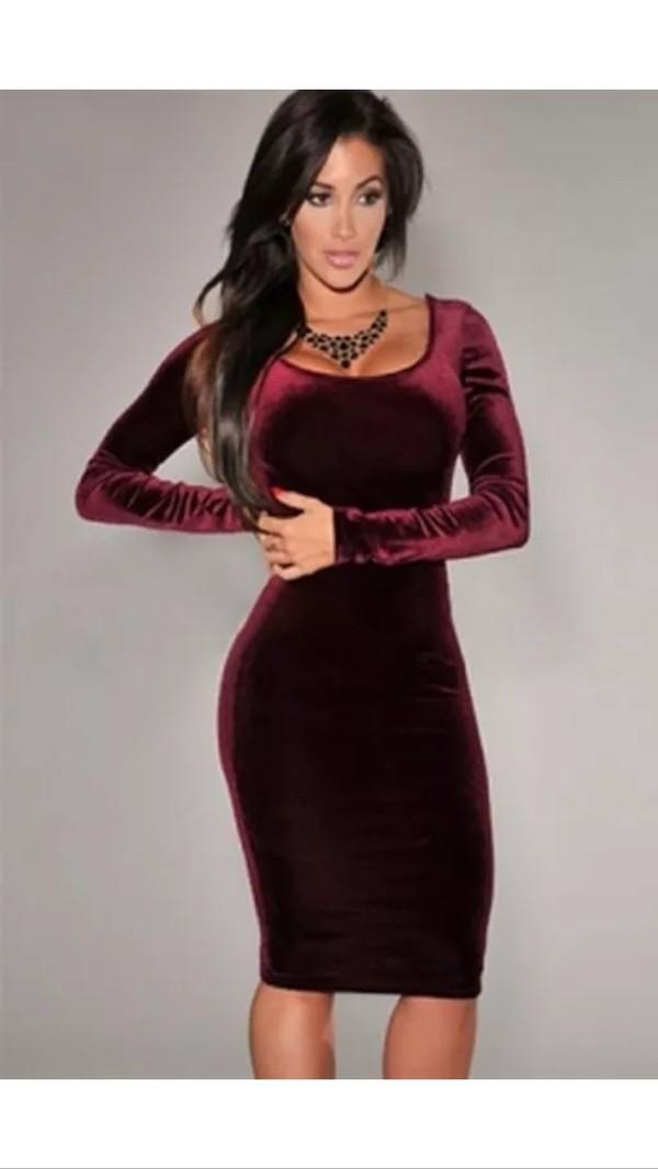 Amazon Com Sexy Womens Wine Red Velvet Long Sleeve
