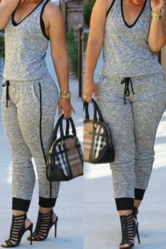 jumpsuit wots-hot-right-now casual drawstring grey jumpsuit v neck