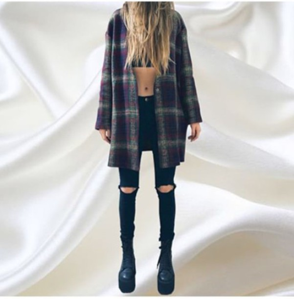 coat unif grunge plaid jacket felt green blue white shoes jeans black ripped jeans plaid coat