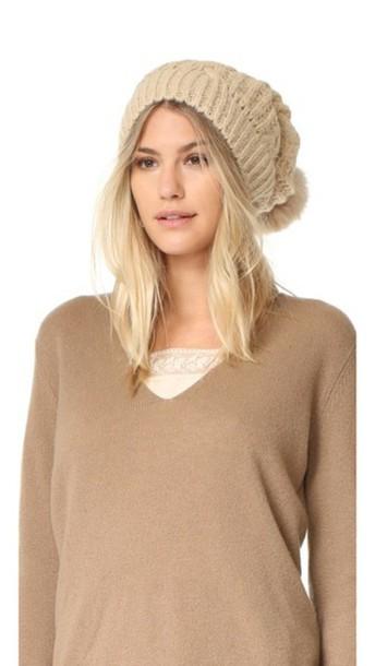 Adrienne Landau Cable Knit Slouch Hat With Fur Pom - Beige