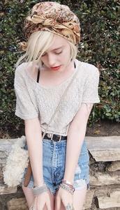 top,loose,lace,boho,hipster,beige,denim shorts,hat,shorts