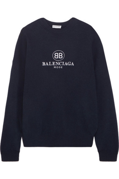 sweater embroidered navy wool