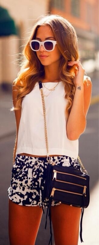 tank top white halter neck shorts bag printed shorts sunglasses blouse summer cross body black and white